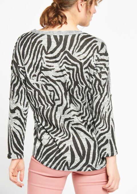 Sweater met zebra-print & lurex - LIGHT GREY MEL - 03001346_1061