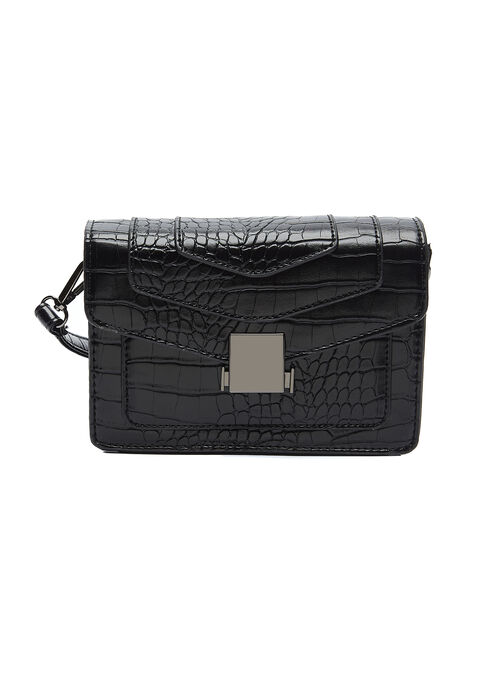 Sac à main imprimé croco - BLACK - 981112