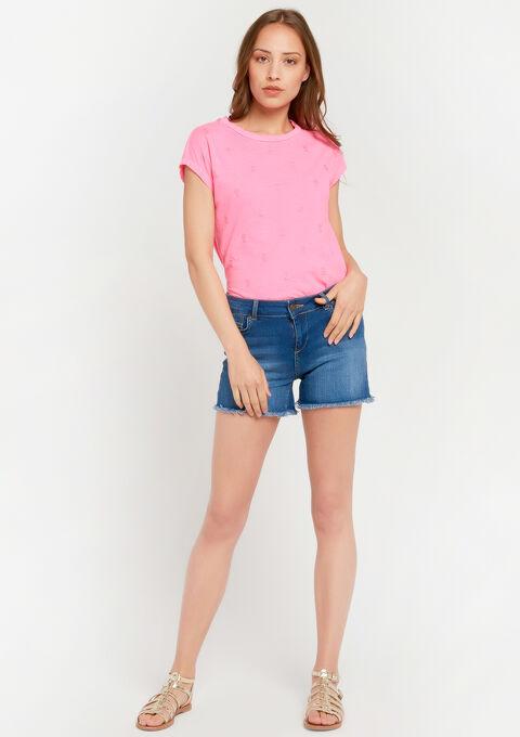 Fluo t-shirt met glanzende ananas-print - FLUO PINK - 02300396_1394