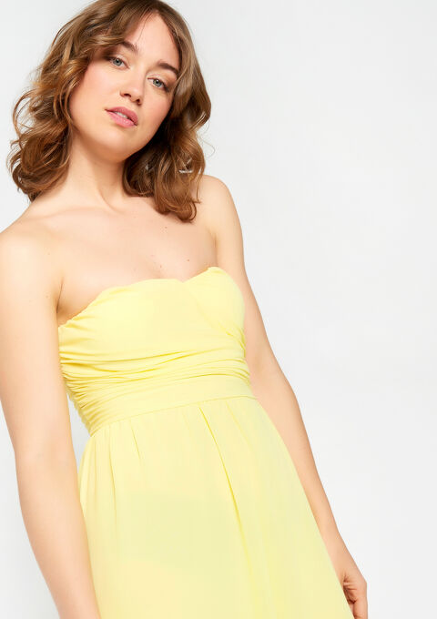 Lange bustier-jurk - YELLOW ACID - 949408