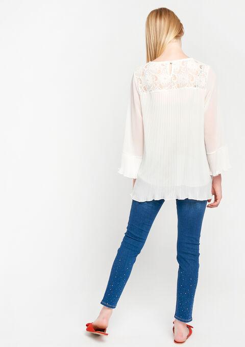 Plissé blouse in kant - OFFWHITE - 914019