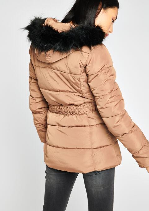 Halflange gewatteerde jas met kap - LION CAMEL - 10000724_3803