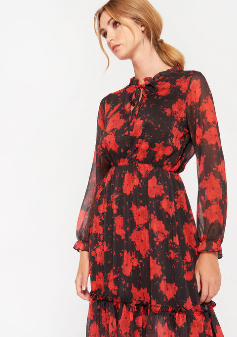 Dress with flower print - BLACK - 08102011_1119