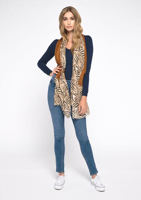 Sjaal met zebra print - CARAMEL - 972469