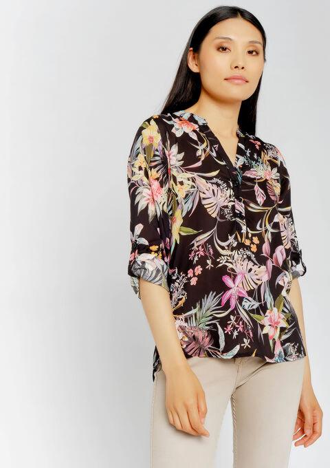 Blouse met tropische print - BLACK BEAUTY - 05700570_2600