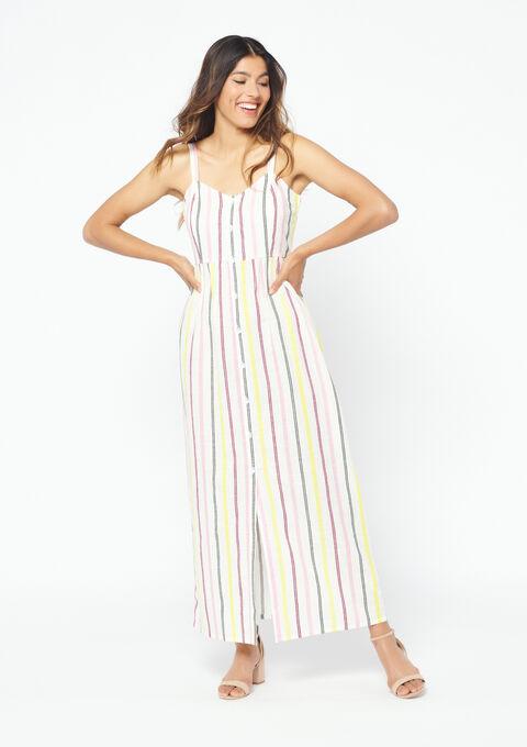 Lange gestreepte jurk - ANEMONE PINK - 08100540_5611