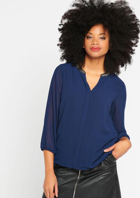 Effen blouse, kraag met lovertjes - NAVY PAPER - 917638