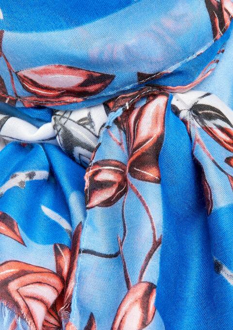 Scarf with leaves & cherries - BLUE QUARTZ - 934140