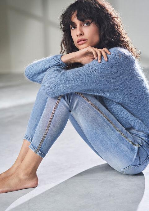 Skinny jeans met tape opzij - BLUE BLEACHED - 22000185_502