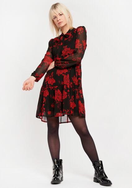 Babydoll dress with flower print - BLACK BEAUTY - 08102077_2600