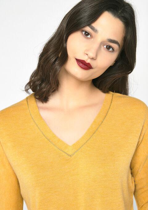 Sweater met v-neck - GOLDEN OCHER - 03001448_1239