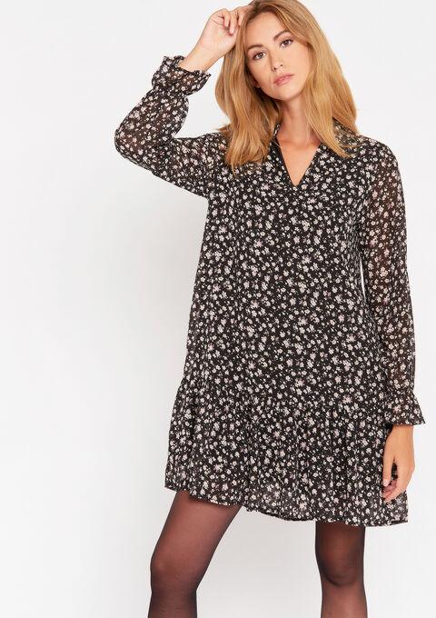 Babydoll jurk met bloemenprint - BLACK - 08101937_1119