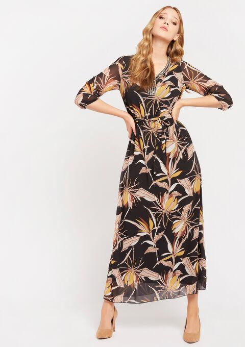 Maxi jurk met versierde hals - BLACK BEAUTY - 08600993_2600