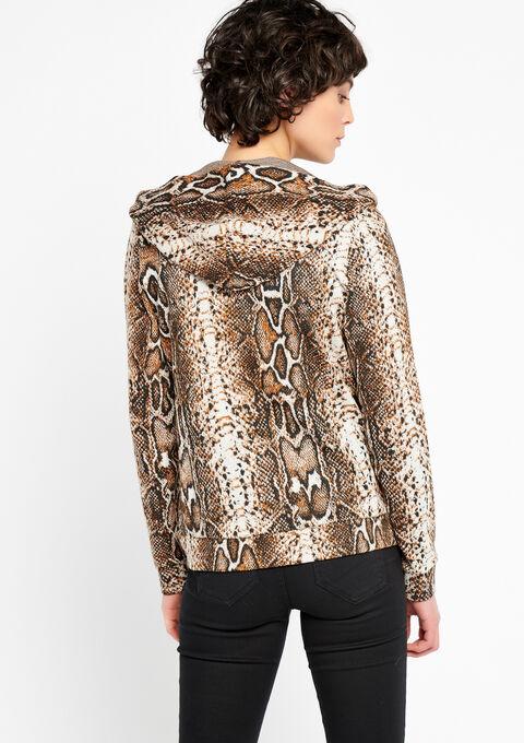 Hoody cardigan met python print - BROWN SHELL - 930999