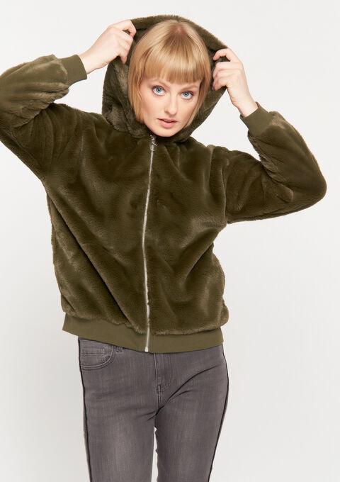 Teddy sweater met kap - KHAKI ARMY - 03001388_4314