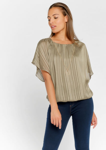 Blouse with necklace - KHAKI DARKY - 05700407_4208