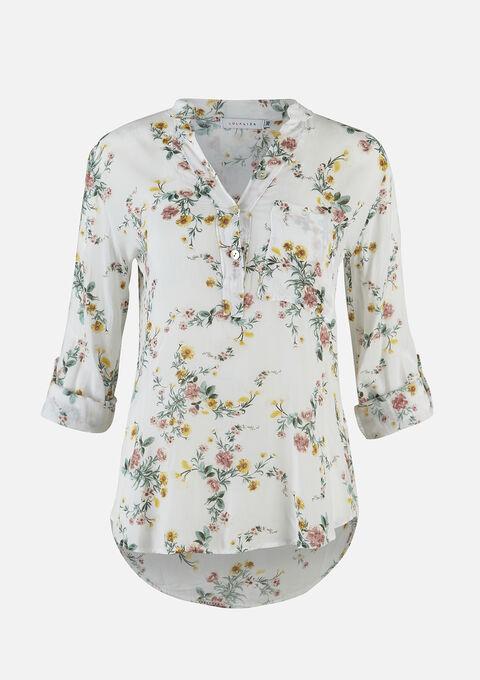 Blouse met bloemenprint  - NATURAL WHITE - 05701470_2510