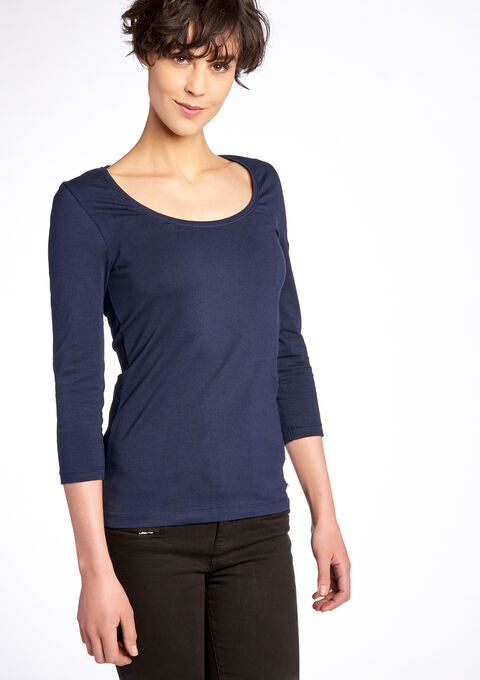 T-shirt moulant, manches 3/4 - NAVY REAL - 02005342_2701