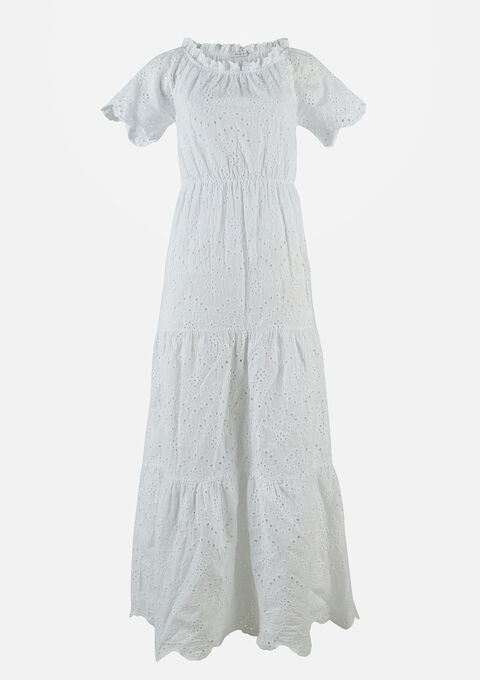 Maxijurk broderie anglaise - OFFWHITE - 08601144_1001