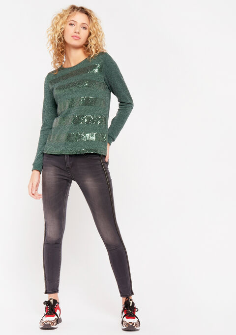Womens sweatshirt with sequins - KHAKI ARMY - 03001451_4314