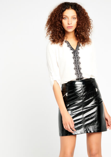 Skirt vinyl look with zip - BLACK BEAUTY - 07100018_2600