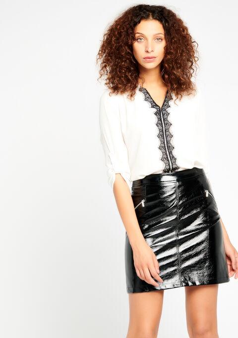 Jupe look vinyl avec zips - BLACK BEAUTY - 07100018_2600