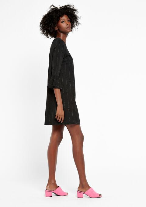Rechte jurk met lurex strepen - BLACK - 08100584_1119