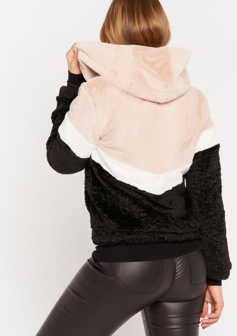 Teddy jas met color block - BLACK BEAUTY - 23000175_2600