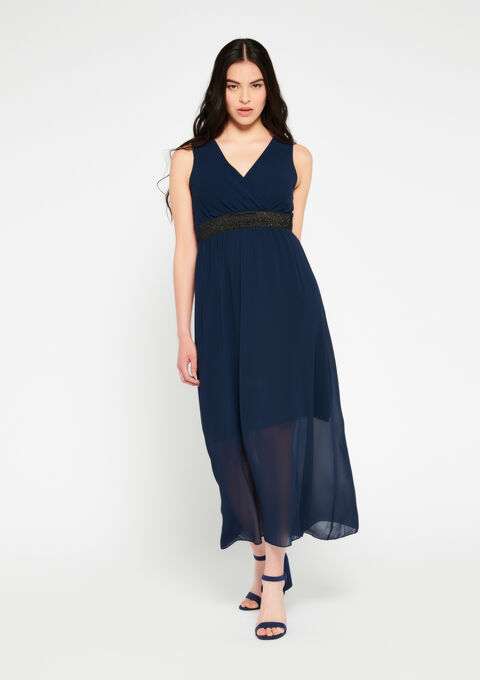 Robe longue, cache coeur, unie - NAVY BLUE - 08600142_1651