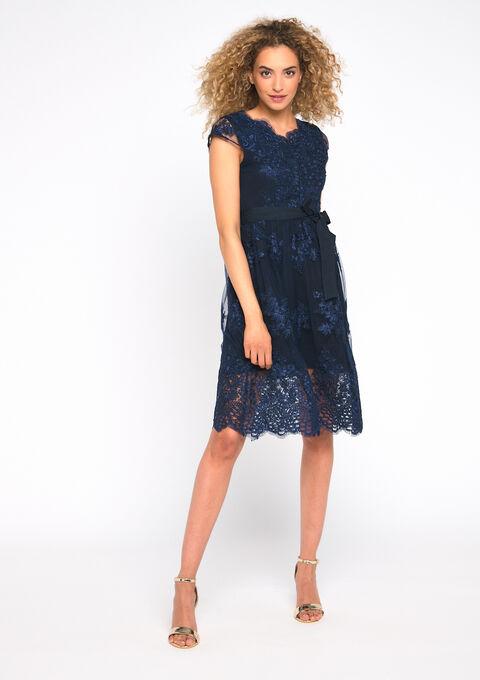 Robe de soirée en dentelle - NAVY BLUE - 08101557_1651