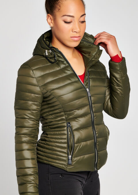 Gewatteerde jas met kap - KHAKI REAL - 10000707_4301