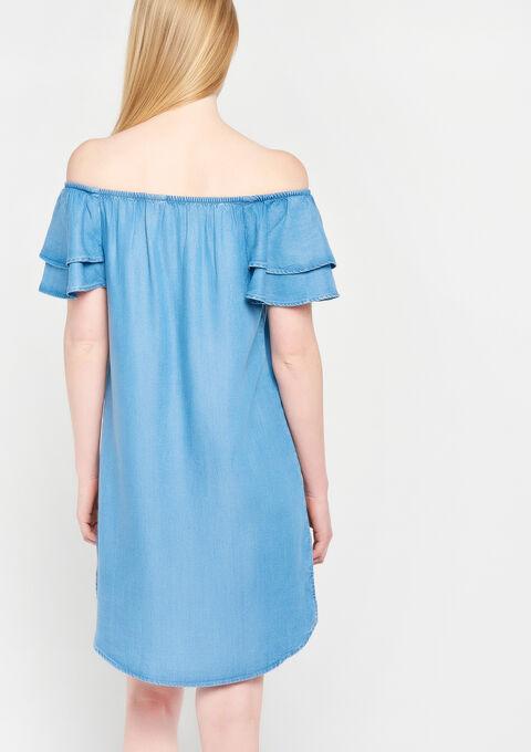 Robe carmen en tencel - MEDIUM BLUE - 08100681_500