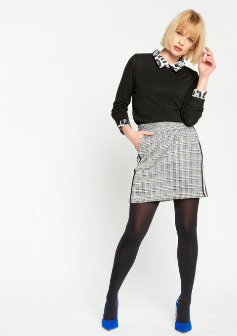 Sweater met kraagje in print - BLACK - 929606
