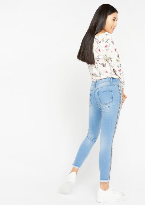 Skinny jeans met tape opzij - BLUE BLEACHED - 22000065_502