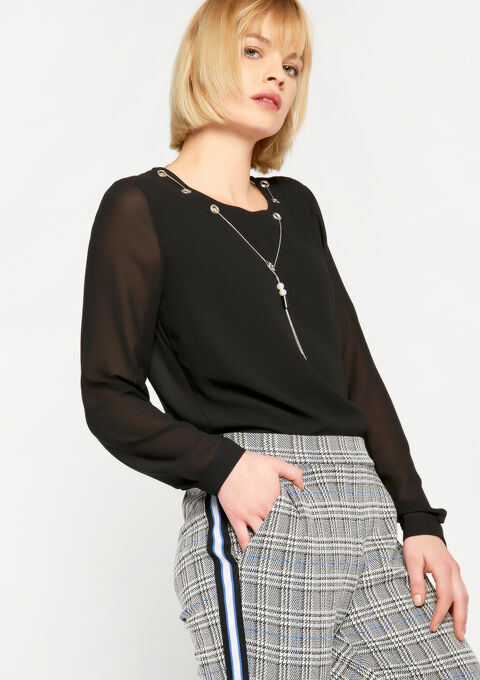 Effen blouse met juweel - BLACK BEAUTY - 05700251_2600