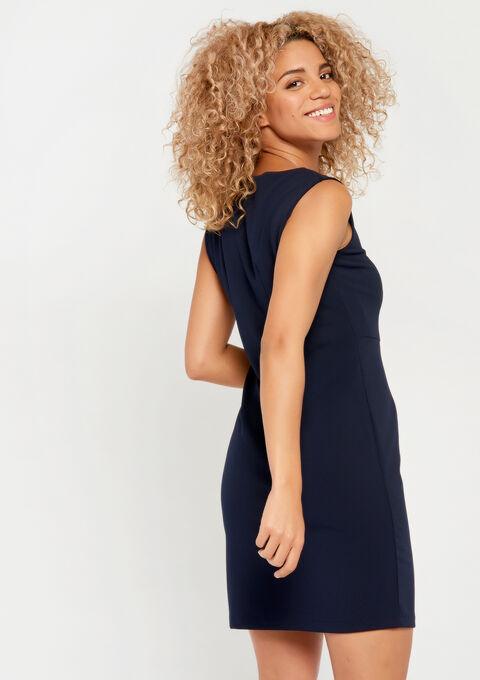Rechte jurk met rits - NAVY MARINE - 08100676_1650