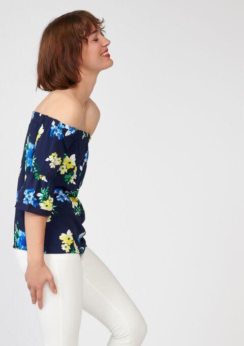 293db0b40d2c0 Off-shoulder blouse with floral print - PEACOAT BLUE - 05003322 1655
