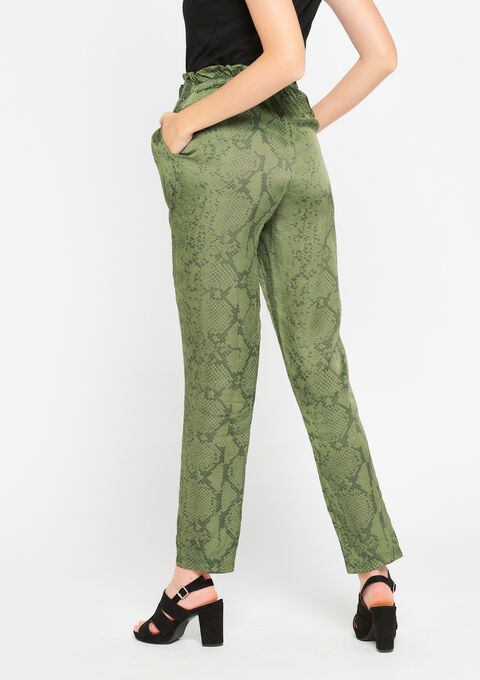 Broek in satijn, slangenprint - KHAKI DARKY - 06600099_4208