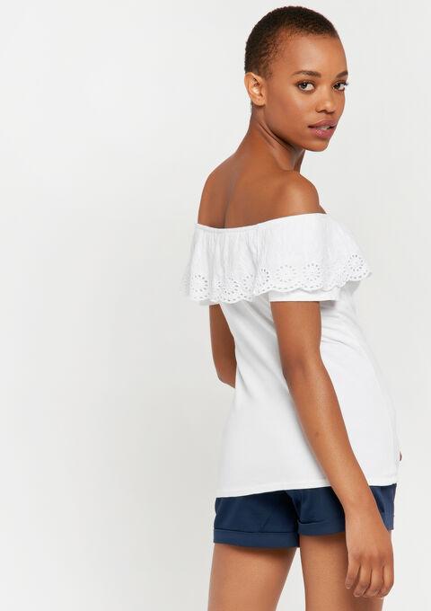 Open schouders t-shirt - WHITE ALYSSUM - 02100156_2502