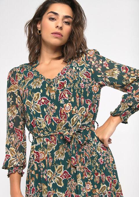 Maxi jurk met bloemenprint - KHAKI ARMY - 08601023_4314