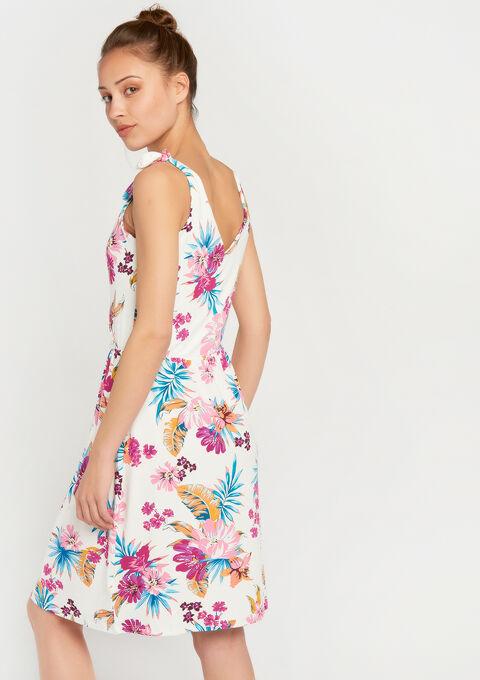 Cache coeur jurk met bloemenprint - WHITE ALYSSUM - 08100515_2502
