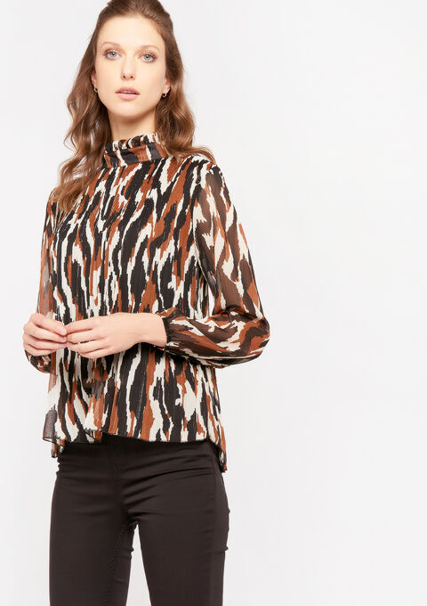 Plissé blouse met grafische print - TOFFEE BROWN - 05701274_1154