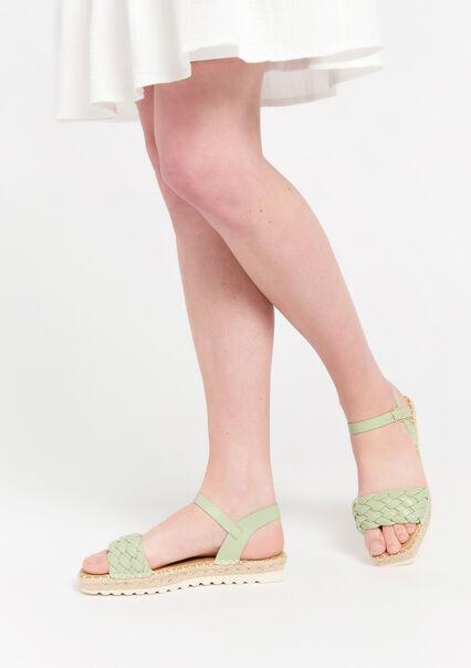 Flat wedge sandals - ALMOND GREEN - 13000548_1724