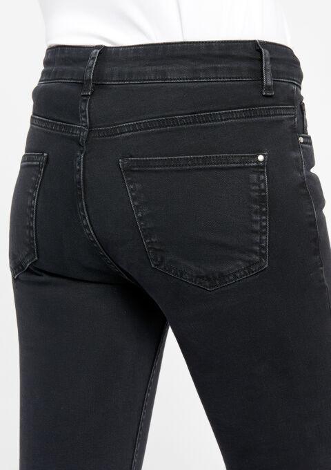 Jeans slim fit met gerafelde randen - BLACK - 22000068_1119