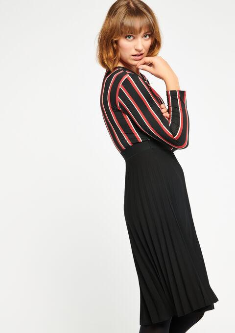 Cache-coeur jurk met plissérok - BLACK - 08100272_1119