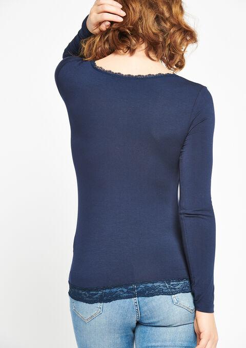 T-shirt met lange mouwen en kant - BLACK IRIS - 02400053_1667