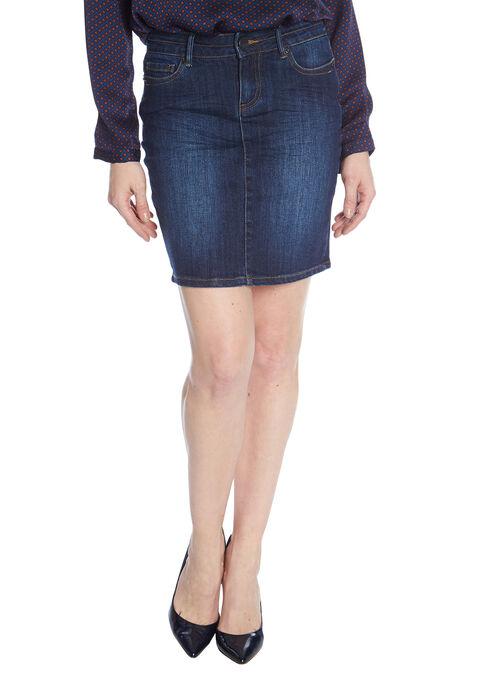 aeec80bb565a1f Rechte jeans rok met zakken - DARK BLUE - 751003
