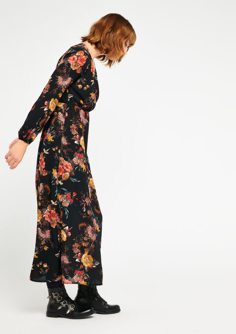 Maxi-dress with flowers & cache coeur - BLACK - 08600073_1119