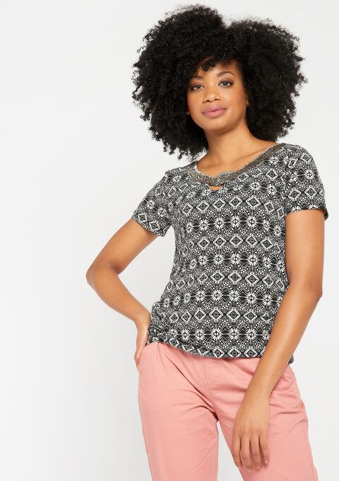 T-shirt met print & versierde v-hals - BLACK - 931446