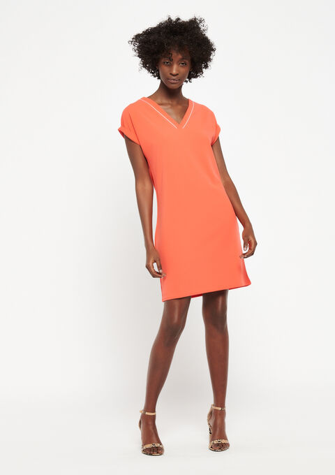 Jurk met korte mouwen en v-hals - BRIGHT ORANGE - 951209
